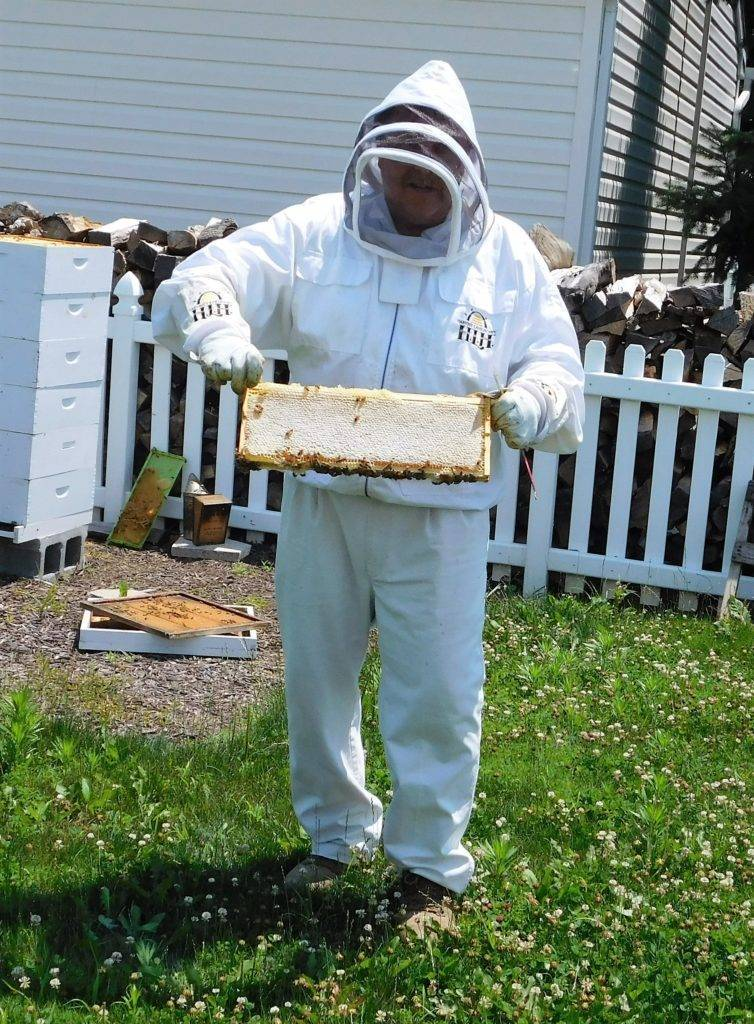 Larry holding a capped honeycomb.